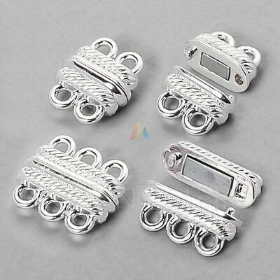 2 3 STRAND MAGNETIC CLASP Jewellery Findings  SILVER PLATED Bracelet Making