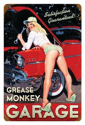 12X18  - Greg Hildebrandt -  Grease Monkey Garage Pin-Up  Metal Sign