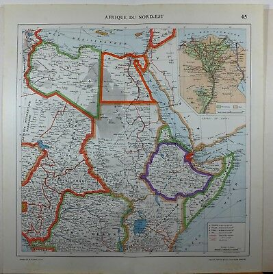 1929 Original Map ~ Africa North East Abyssinia  Inset Cairo Eygpt Nile Delta