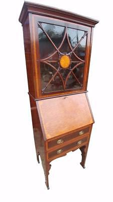 Fine Quality Small Mahogany And Satinwood Banded Bureau Bookcase