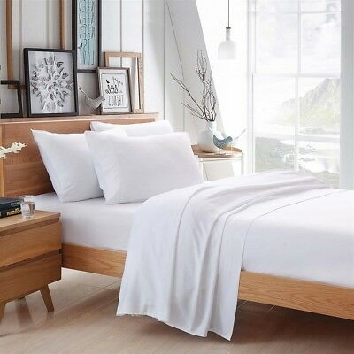 White 100 Egyptian Cotton Bamboo Bed Linen Sheet High Quality Natural