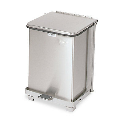 Defenders Biohazard Step Can, Square, Steel, 7gal, Stainless Steel