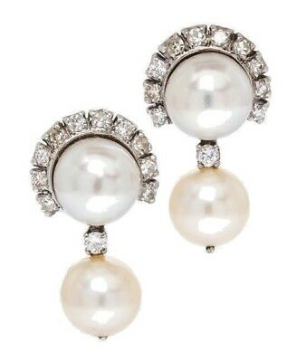 Estate 14K White Gold Diamond and Cultured Pearl Clip Earrings
