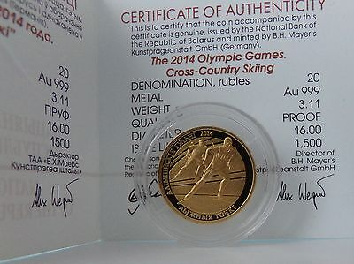 Belarus 20 Rubles 2012 The 2014 Olympic Games.Cross-country Skiing Proof Gold