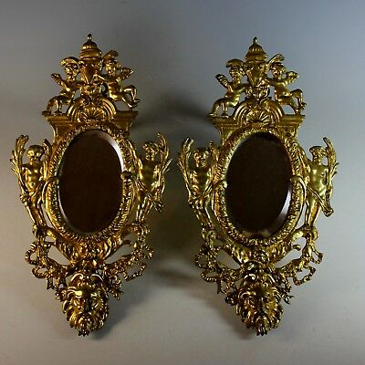 Set of Antique French Gilt Bronze Mirrors with Putti and Grotesque
