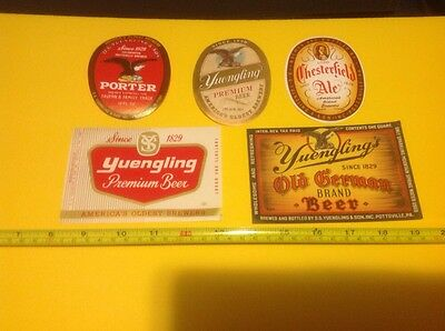 """Set of 5 Assorted Yuengling """"America's Oldest Brewery"""" Bottle Labels"""