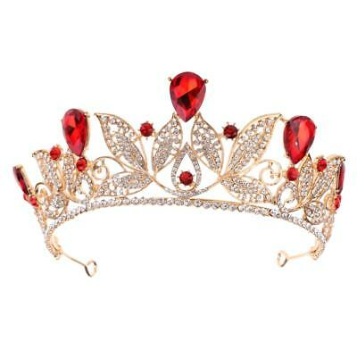 Red Teardrop Crystal Barock Tiara Krone Hochzeit Prom Party Bridal Stirnband