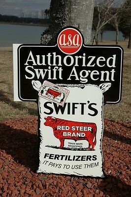 Old Style Lrg Swift's Red Label Fertilizer Farm Dairy Steel Sign Usa Made Super!