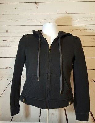 Juicy Couture Black J Zip Sweat Track Jacket with hood juicy girl on back. Large