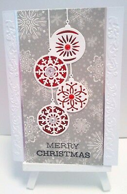 Handmade Christmas Card : Grey snowflakes