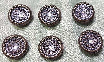 LOT OF 6 - Antique- Vintage Steel Metal Sewing Buttons-Abstract-Detailed Lovely