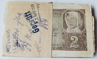 Poland 2 Zloty Banknote 1941 Original Bundle Of 50 Banknotes Rare No Reserve