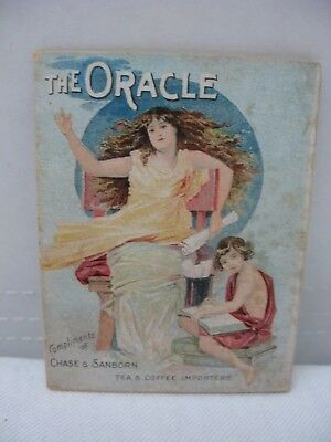 """Antique Victorian Trade Card Booklet """"The Oracle"""" Chase & Sanborn Tea Importers"""