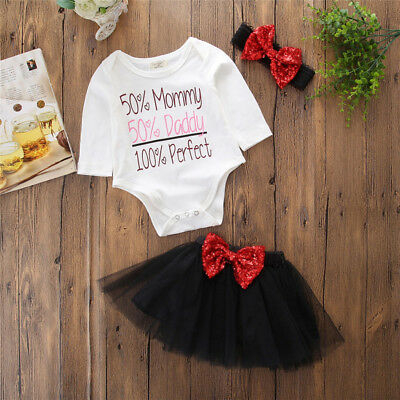 3Pcs Newborn Baby Girl Top Romper Sequin Lace Tutu Skirt Outfits Set Clothes USA