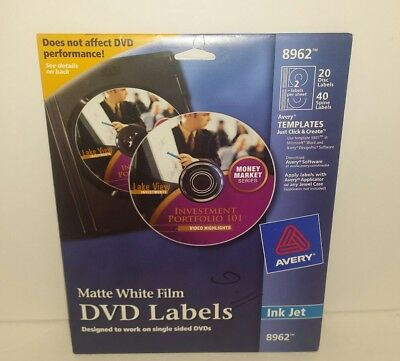 Avery DVD Labels Matte White for Ink Jet Printers 20 Disc Labels (8962) New