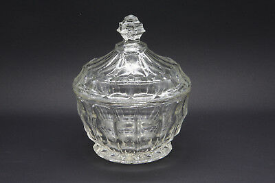 STYLISH VINTAGE SUGER LOLLY CONDIMENT GLASS CUT BOWL with LID