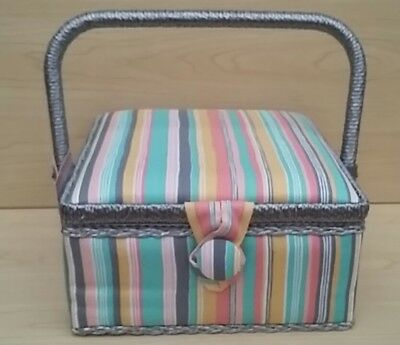 New-Hobby Gift-Small-Square-Multi Colour Stripe Design Fabric Covered Sewing Box