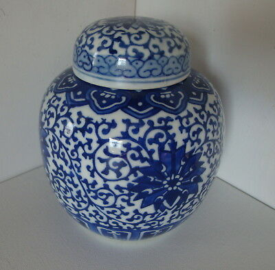 Blue and White Hand Painted Ceramic Glazed Pottery Ginger Jar with Lid