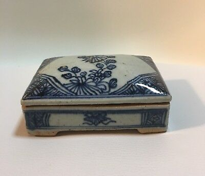 Chinese Blue & White Porcelain Lidded Box - Late Ming Early Ching Shipwreck 1620