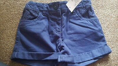 Bnwt Girls Navy Blue Shorts Age 4-5 Years