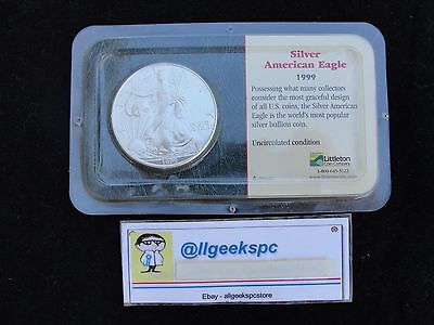 1999 American Silver Eagle S$1 Uncirculated Coin in Littleton Show pack BU