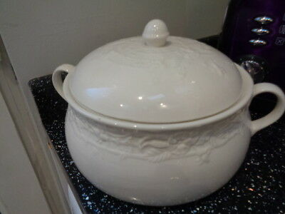 White Embossed Serving Tureen - No Back  Stamp