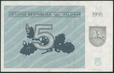 LITHUANIA 5 Talonai (1991) aUNC banknote WITHOUT TEXT RARE
