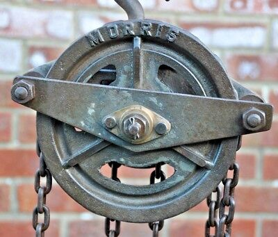 Antique Vintage Herbert Morris Industrial Block & Tackle Chain Lift / Hoist Hook