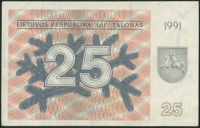 LITHUANIA 25 Talonai (1991) aUNC banknote WITHOUT TEXT RARE