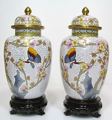 Pair of Rare Vintage Chinese H 23 cm, Tall Bronze Cloisonne Floral Potiche