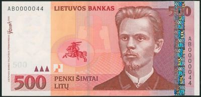LITHUANIA 500 Litu (2000) UNC banknote Rare AB Seria Low Number 0000044