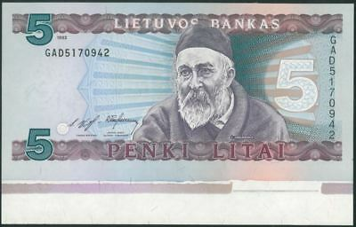 LITHUANIA 5 Litai (1993) Litas UNC #55a NOT CUTTED
