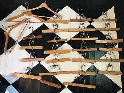 Lot of 24 Vintage Wooden Clamp Trouser Pants Hangers plus 3 Clothing Coat Hanger