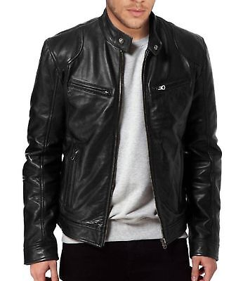 Mens Black Brown Slim Fit Biker Leather Genuine Lambskin Jacket