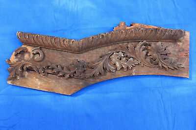 Decorative Piece Crest Deco AS IS Carved Wood Applique Oak Old Furniture Salvage