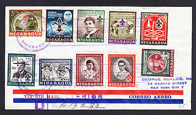 1957 registered cover displaying Nicaragua stamps to New York Einschreiben Scout