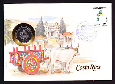 1984 Costa Rica Bird stamp & coin cover South America Ox Oxen Cart Buildings