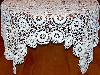 "STUNNING VINTAGE HAND CROCHETED TABLECLOTH, WINTER WHITE, 75"", c1930"