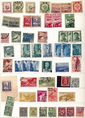 Japan. Stockpage of used stamps.