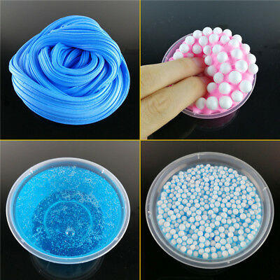 Anti-stress Beads Slime Toys Kids Children Fluffy Clear Glitter Slime Mud Toy
