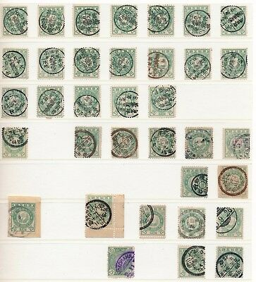 Japan. 1888/92. 25 s. bluegreen. Stockpage with beautiful cancelations