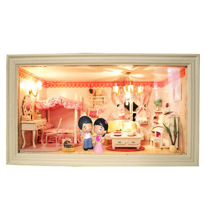 Hoomeda 13818 Pink Dream DIY Dollhouse With Music Light Cover Doll House Miniatu