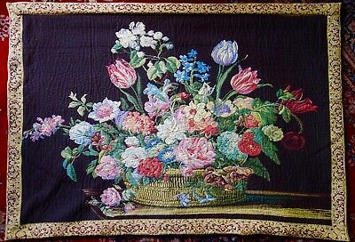 Large Vintage Wall Hanging Tapestry - Floral Theme - Embroidery