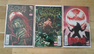 Carnage #1-3  Marvel Comics 2015 Series 2 - First Prints - Excellent Condition