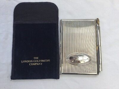 1950's Silver Plated Case Notebook & Pencil + Biplane Motif - Blue Velvet cover