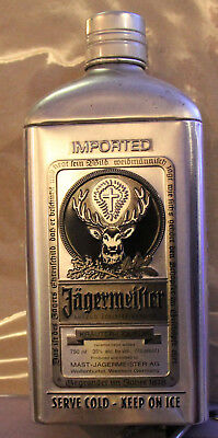 Limited Edition Jagermeister Metal Tin Bottle Cover Container Silver Black JAGER