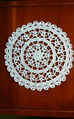 """Crochet Cotton 8"""" DOILY hand made in White for Table or Porthole in Narrowboat"""