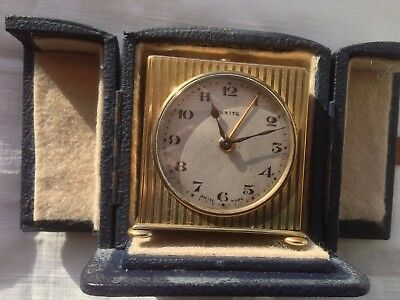VINTAGE ART DECO SWISS 1920's 'ZENITH' 1 DAY TRAVEL ALARM CLOCK + CASE