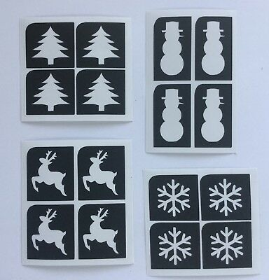 Glitter Tattoo Christmas 16 Mini Stencil Pack Tree Reindeer Snowman Snowflake