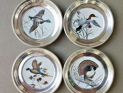 Lot of 4 Frank M Whiting Coasters Sterling w/Ceramic Center Ducks And Pheasants